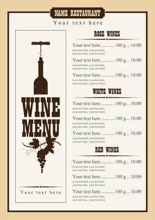 wines: wine menu with a price list of different wines Illustration