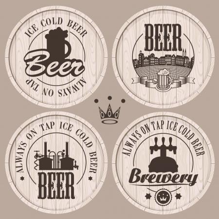 grifos: conjunto de etiquetas de cerveza en barriles de madera
