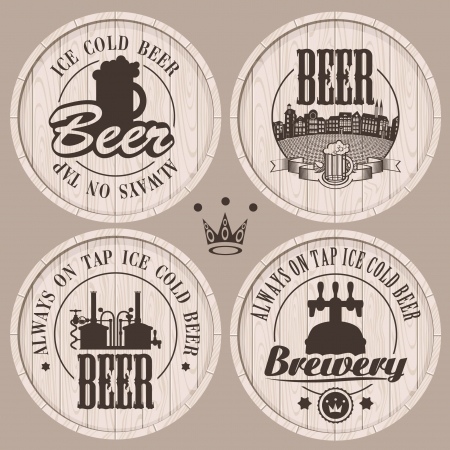 lager beer: set of labels to beer on wooden casks