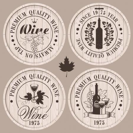 와인: 나무 통에 와인에 대한 네 개의 레이블 일러스트