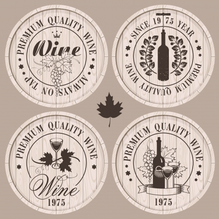 bottle of wine: four labels for wine on wooden casks Illustration
