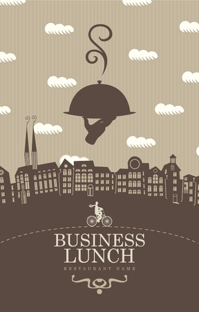 lunch tray: cover for a business lunch menu with a cyclist on the background of the old city in a retro style