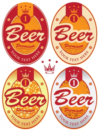 set of four oval labels for beer Stock Vector - 21888247