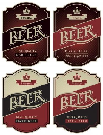cerveza negra: cuatro etiquetas de cerveza en un estilo retro Vectores
