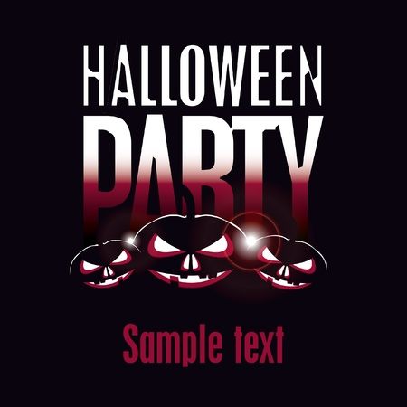 inscription halloween party and three pumpkins Vector