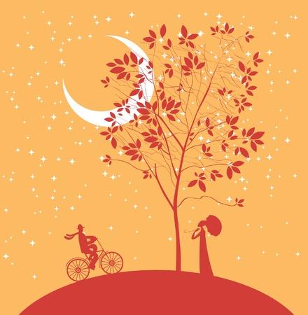 romance: dos amantes bajo un árbol en la noche