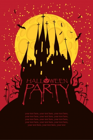 Halloween party with an old Gothic castle in the cemetery on the background of the full moon Stock Vector - 22017106
