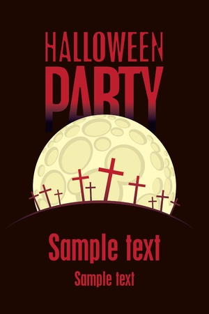 halloween poster: Halloween party to the cemetery a moonlit night Illustration