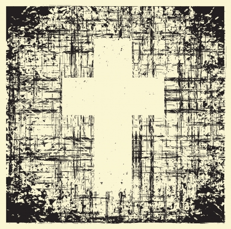 grunge cross: cross on grunge background texture