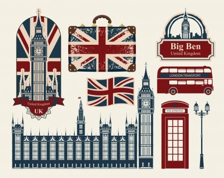 bus anglais: série de dessins sur le thème de la Grande-Bretagne et Londres