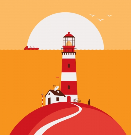 seascape with lighthouse and ship Stock Vector - 22173941