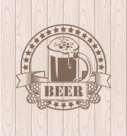 label with a glass of beer and wings on the background of the wooden planks Vector