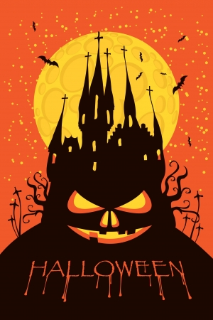 church window: banner for Halloween with a pumpkin face in the form of an old Gothic castle in the cemetery at night