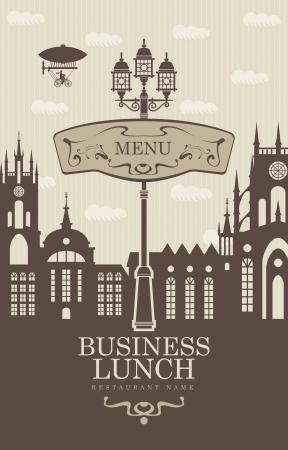 luftschiff: Menü für Geschäftsessen mit der Altstadt und einer Straßenlaterne