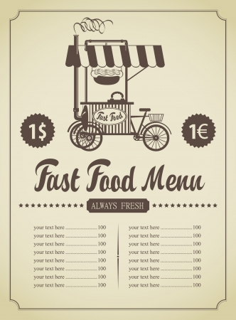 fast food menu with a mobile kitchen Vector