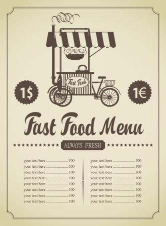 menú de comida rápida con una cocina móvil