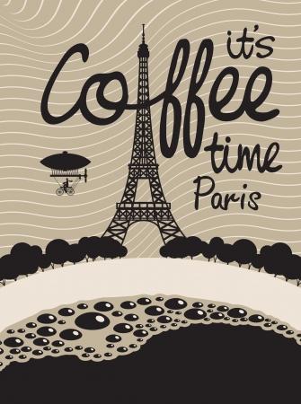 paris vintage: Imagen con una taza de caf� y en Par�s con la Torre Eiffel Vectores
