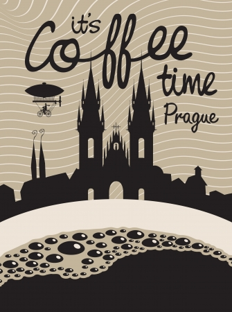 drawing with a cup of coffee on a background of Prague Vector