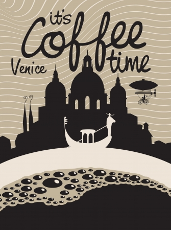 gondolier: Vector picture with coffee cup on the background of Venice