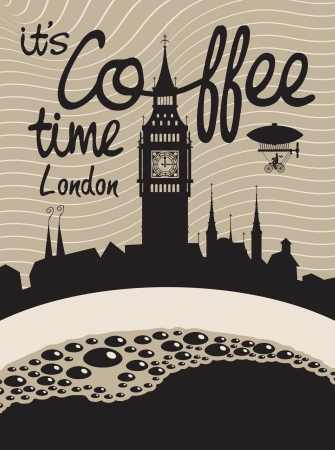 houses of parliament london: cup of coffee on a background of London and Big Ben Illustration