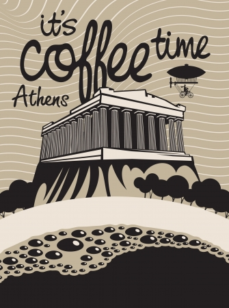 cup of coffee on a background of the Athenian Acropolis Vector
