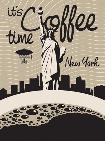 vendimia: taza de café sobre un fondo de la Estatua de la Libertad en Nueva York