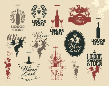 wine bottle: Wine labels collection Illustration