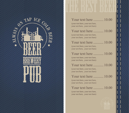 Menu for the pub in a retro style on denim Vector