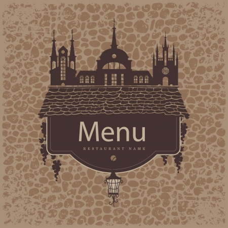banner that read menu on a brick wall of the old city Vector