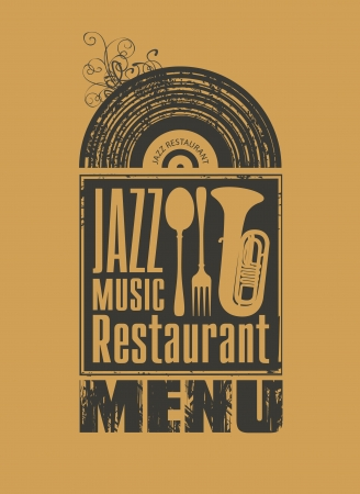 popular music concert: menu for the restaurant with jazz music vinyl records and cutlery