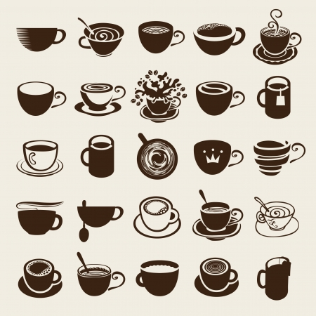 Vector icon collection Coffee cup and Tea cup Illustration