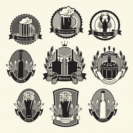 grifos: Conjunto de la cerveza etiquetas señales símbolos Vectores