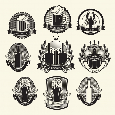 mug of ale: set Beer labels signs symbols Illustration