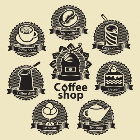 Satz Embleme für Kaffee und Tee Shop