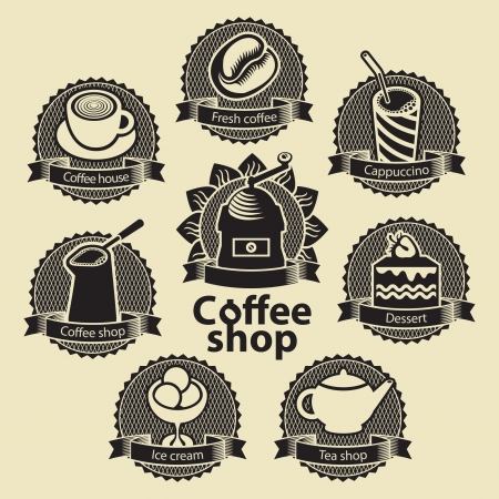 set of emblems for coffee and tea shop Vector