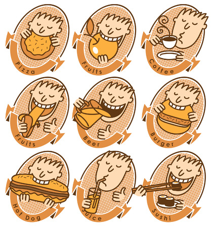 set of characters with different dishes for the menu Vector