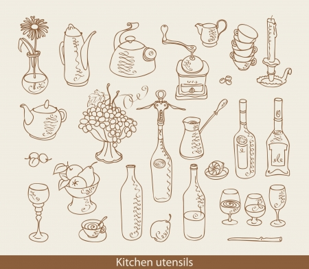 kitchen ware: set of images of kitchen ware