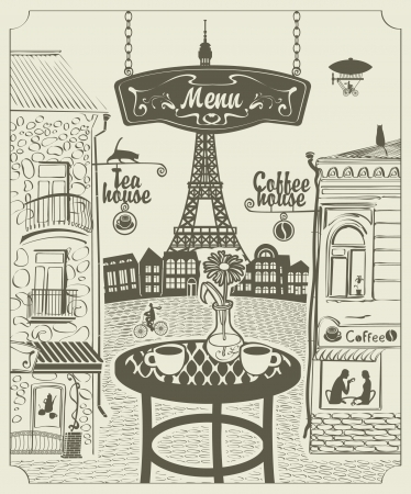Parisian street restaurant with views of the Eiffel Tower Vector