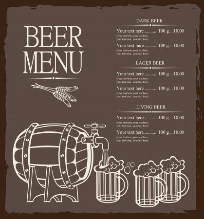 Menu for beer keg and glasses Vector