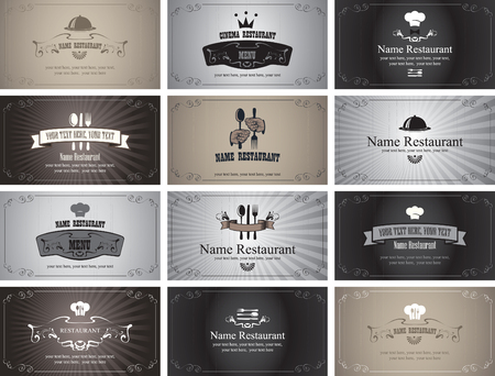 scrape: set of business cards on the theme of food and drinks in style Black and white film