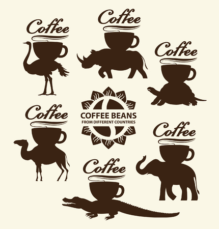 turtle bean: cup of coffee on the back of a different animal Illustration