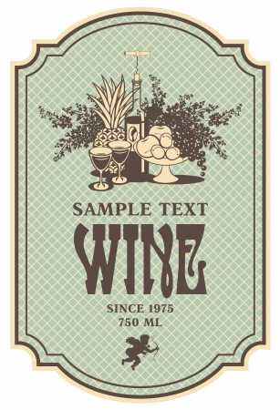 liquor: wine retro label with a still life of bottles, fruit and lilac