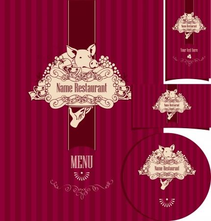 Satz von Elementen für die Gestaltung des Restaurants mit Spanferkel