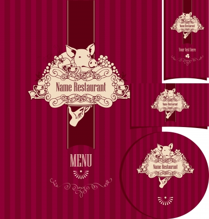 set of elements for the design of the restaurant with roast suckling pig Vector