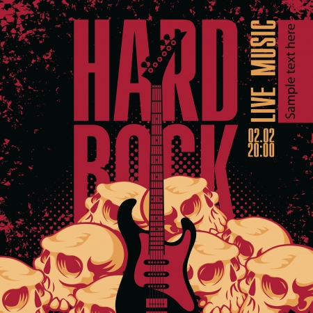 accords: banner with a guitar human skulls and the words hard rock Illustration