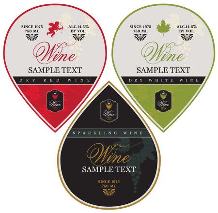 etiketten voor mousserende, rode en witte wijn met druiven en Cupido