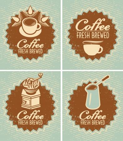 コーヒーカップ: バナー新鮮なコーヒーの準備のためのレトロなセット