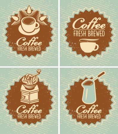 chicchi di caff�: set retr� di banner per la preparazione di caff� fresco Vettoriali