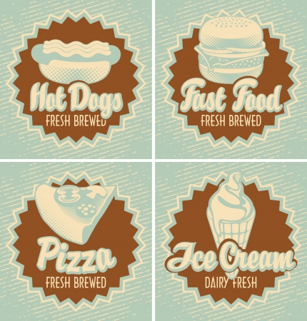 milk cheese: set of four banners with fast food pizza and ice cream in retro style
