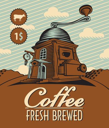 sidewalk cafe: coffee house as a grinder in a landscape Illustration